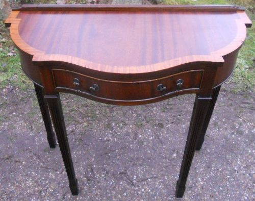 Small Serpentine Front Mahogany Console Table